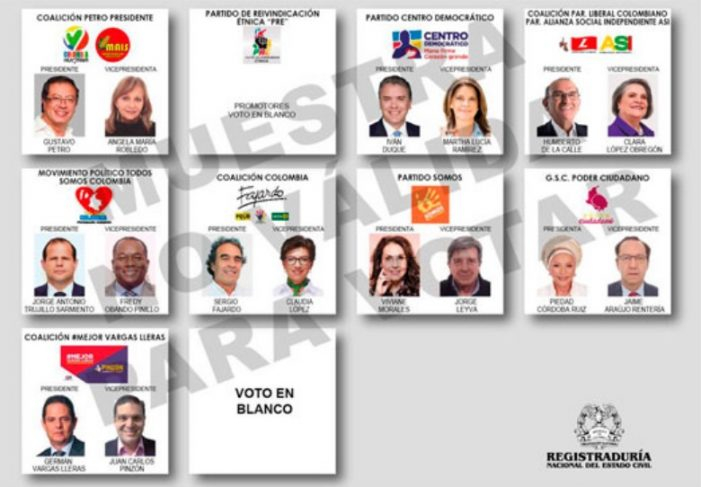 Listo el tarjetón electoral para las elecciones presidenciales de Colombia