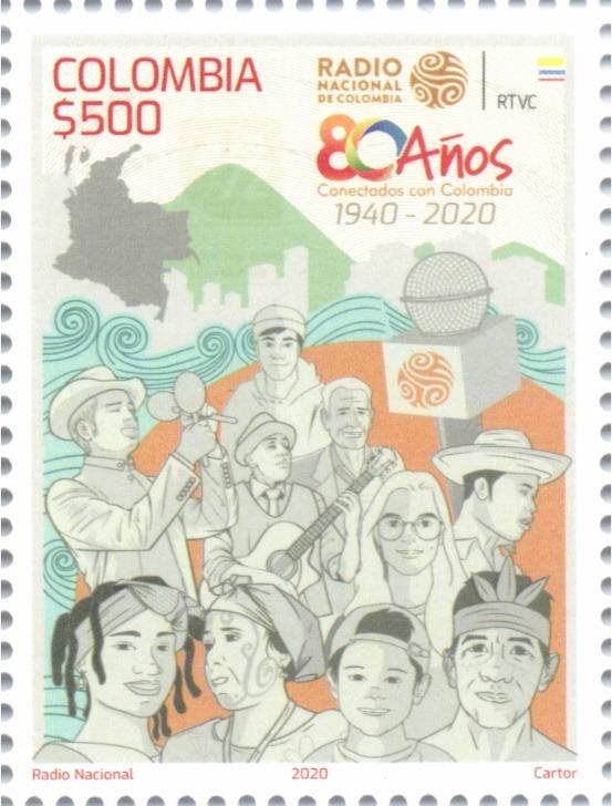"""Radio pública de Colombia tiene estampilla de correo """"80 años de la Radio Nacional"""""""