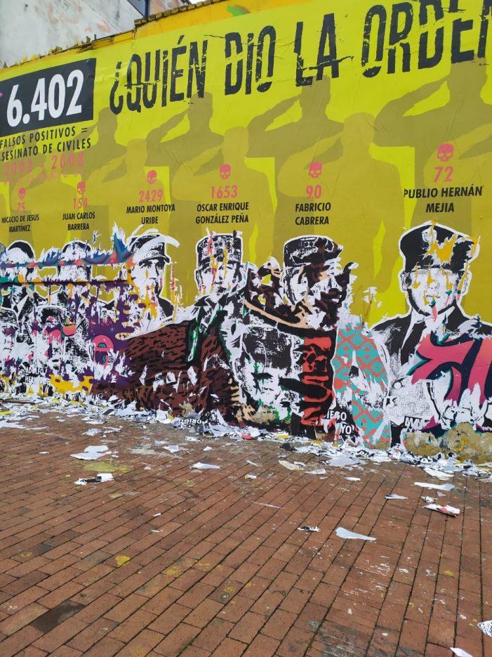 """Mural sobre """"falsos positivos"""" vandalizado en menos de 48 horas en Bogotá"""