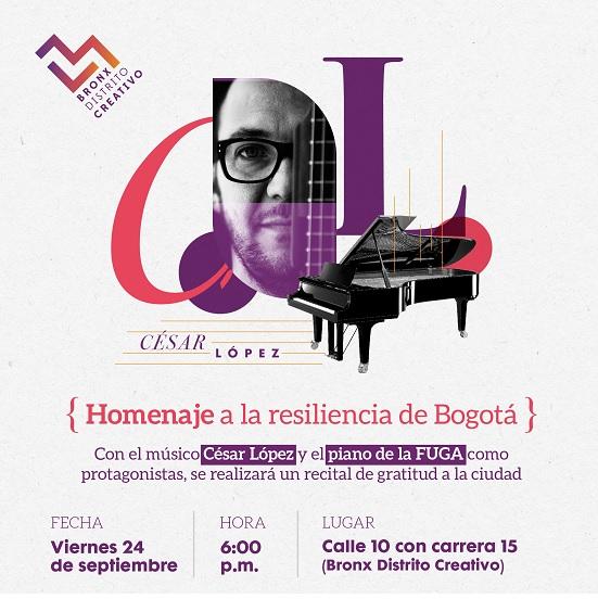 Concierto de César López en homenaje a la resiliencia de Bogotá